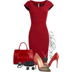 """Lady n' Red"" by charlottewalker on Polyvore"