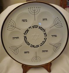 Vintage Judaica 121/2 inch porcelain Seder Plate by by shainkeit, $40.00
