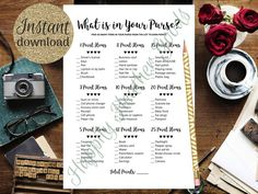 What Is In Your Purse, Bridal Shower Games, Printable Bridal Shower Game, Simple Bridal Shower Game, Simple Bridal Shower, Printable Bridal Shower Games, Diy Games, The Balm, Perfume, Templates, Times, Purses, Cards