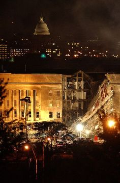 I challenge my fellow pinners to find a photo of a plane flying into the Pentagon on 9/11 and/or a photo showing any remains from a plane...this was not done by a huge plane....