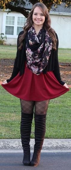 ♡ Winter Fashion 2016 - Burgundy Skater Skirt with thigh high boots, and plaid tights -  If you like my outfit, please follow me and subscribe to my fashion channel on Youtube! Right now I'm giving away a pair of grey thigh high boots for FREE! Let me help u find all the things that u love from Pinterest! https://www.youtube.com/watch?v=50twSzWST0k