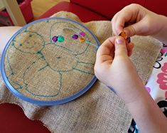 My 5's love to sew!  Hand sewing project- beginning embroidery via Childhood 101