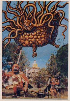Ces images représentants des monstres issus de la télévision et des films japonais qui s'incrustent dans des cartes postales du monde sont de Yokopro dans les années 1970. ( Source )