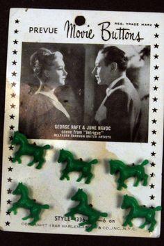 ButtonArtMuseum.com - Pair Carded Movie Star Buttons-Joan Bennett-George Raft