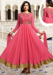 Party Wear Silk Pink Embroidered Work Anarkali Suit