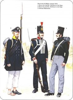Prussian Reserve, Militia & Irregular Troops 1806-1815_ Reservists & Militria autumn 1813 1-Reservist,2nd Bataillon 4th Reserve 2-Reservist, 3rd bataillon 9th Reserve 3-Silesian Milityraman