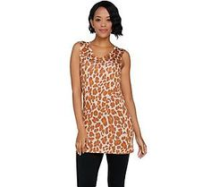 LOGO Layers by Lori Goldstein Printed V-neck Knit Tank with Straight Hem