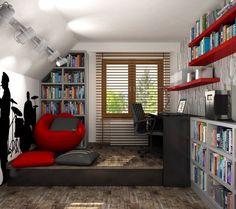 jugendzimmer ideen deko junge dachschräge musikfan - die Farben passen zwar nicht bei und, ich finde die Idee eines Podestes mit Schubladen aber sehr cool.