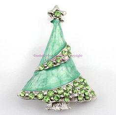 green Christmas tree Austrian rhinestone crystal brooch pin