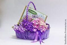"""Корзина декорированная """"Летнее настроение"""" - фиолетовый,подарок,упаковка для подарка"""