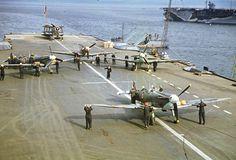 Seafire Aircraft: Seafire Aircraft on British Aircraft carrier. ca.1942.