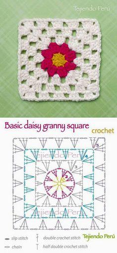 Crochet: basic daisy granny square pattern (diagram or chart)! by deann Crochet: basic daisy granny square pattern (diagram or chart)! by deann Motifs Granny Square, Flower Granny Square, Crochet Motifs, Granny Square Blanket, Crochet Blocks, Granny Square Crochet Pattern, Crochet Diagram, Crochet Chart, Crochet Squares