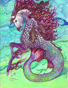 Hippocampus Mythical Sea Creature Original Artwork by Rosalie Rushing