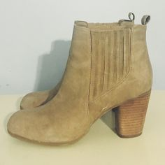 Madden Girl Suede Booties Taupe suede Madden Girl round-toe booties with elasticized panels at sides and block heels. Faint scuffing at sides, see pictures. Madden Girl Shoes Ankle Boots & Booties