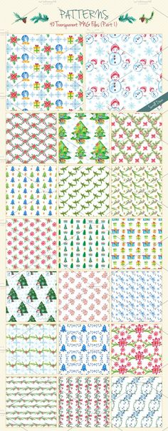 40 Watercolor Christmas Patterns Graphics Because it's that time of year again, for this Holiday Season I'm offering a **40 Watercolor Christm by CreativeToons