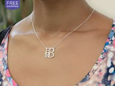 Personalized Monogram Square Necklace - 3 Metals | National Area | LivingSocial