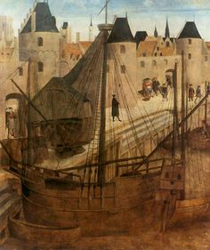 NIEUWPOORT (Belgique) zicht op de haven van Nieuwpoort. Toegeschreven aan Lanceloot Blondeel, 1ste helft 16de eeuw (Nieuwpoort, Stedelijk Museum)
