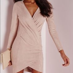 Misguided Faux Suede Long Sleeve Wrap Over Dress Size 6 US, Brande new with tags, super classy dress that's perfect for cold nights out. Very good material. Wish o could have for but it was to big on me. Missguided Dresses Long Sleeve