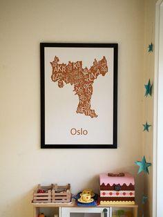 Plakat med trypografisk kart av Oslo Oslo, Bee, Design, Home Decor, Homemade Home Decor, Interior Design, Design Comics, Home Interiors