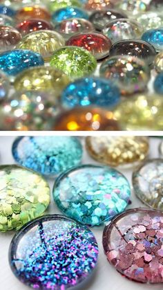 diychristmascrafts:    DIY Cheap and Easy Glitter Magnet Tutorials. You can find a big bag of these flat back marbles at the Dollar Store or a...