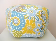18 Ottoman Pouf Floor Pillow Waverly Button Blooms by aletafae. $85.00, via Etsy.