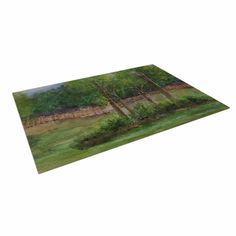 """Cyndi Steen """"A Storm At The Strand"""" Green Travel Indoor / Outdoor Floor Mat"""