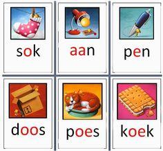 Alle kernwoorden nog eens op een wandplaat gezet. Kernwoorden en prenten van Veilig Leren Lezen.