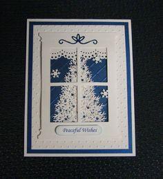 212654413628636875 Christmas Window Handmade Card  Winter, Tree, with Embossing