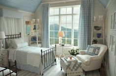 "The pale blues and crisp whites make this HGTV 2006 Dream Home in N. so inviting- ceiling paint color - ""Blissful Blue"" - Sherwin Williams - Pretty Bedroom, Dream Bedroom, Home Bedroom, Bedroom Decor, Master Bedrooms, Bedroom Ideas, Cottage Living, Cottage Style, Hgtv Dream Homes"