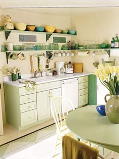 Small kitchen with open shelving