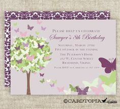 BUTTERFLY BIRTHDAY PARTY Invitations Fairy Tale Purple Butterfly Digital diy Printable Personalized - 107522519. $14.00, via Etsy.