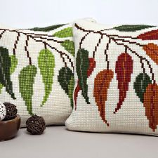 "SEASONAL LEAVES  Chunky Cross Stitch Cushion Front Kit 16"" x 16"""