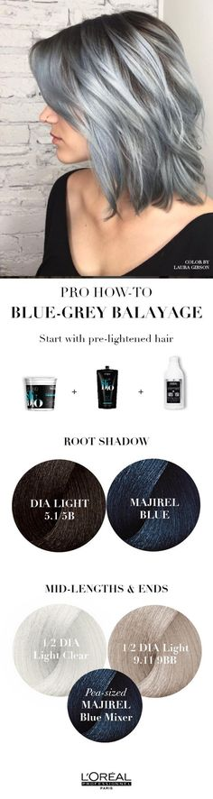 This blue grey Balayage is a great shade of silver hair. Learn how to achieve this look with this pro hair how to and L'Oreal Professionnel