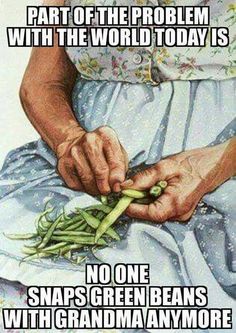 OMG YES I never liked green beans, but I liked to snap them with my grandmother sometimes ^^
