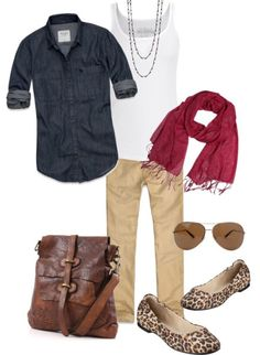 denim, khaki, bright scarf and leopard print