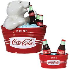 Coca-Cola Cookie Jar with Polar Bear drinking an ice cold coke  Ice cold coke S\P shakers