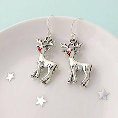 Sophie Jones Jewellery Reindeer Christmas Earrings (£12) ❤ liked on Polyvore featuring jewelry, earrings, christmas jewelry, earring jewelry and christmas earrings