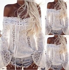 Boho Women Off Shoulder Casual Solid Shirts Lace Top Tees Blouse Tops – serenityboutique