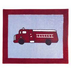 "Sweet Jojo Designs Frankie's Firetruck Blue/Red Fire Truck Area Rug Rug Size: 2'6"" x 3'"