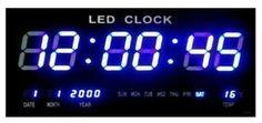 Horloge Murale Horloge Numérique LED Horloge Quarz Date Température Bar Café Kiosque XL Bleu