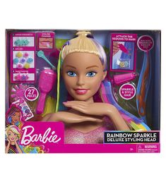Superb Barbie Rainbow Sparkle Deluxe Styling Head Now at Smyths Toys UK. Shop for Barbie At Great Prices. Disney Princess Toys, Barbie Princess, Play Barbie, Barbie Toys, Barbie Styling Head, Colored Hair Extensions, 21st Birthday Decorations, Color Changing Nails, Baby Alive Dolls