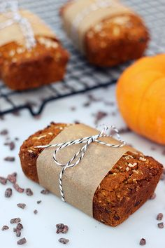 Grain-free Coconut Pumpkin Mini-Loaves with Cocoa Nibs – Gluten-free and Dairy-free