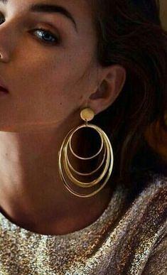 Multi Hoop Earrings Type: Zinc Alloy Earring Type: Hoop Earrings Shape\pattern: Hoops Size (Length * Width): * Material: Metal Available Color: Gold Boho Earrings, Boho Jewelry, Jewellery, Drop Earrings, Shape Patterns, Sterling Silver Earrings, Boho Chic, Piercings, Hoop