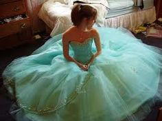 A pretty, bright torquoise wedding dress.