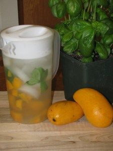 MANGO BASIL WATER--> Ingredients are natural anti-inflammatory, natural antibiotic, aids in digestion, boost your memory and increases your sex drive.
