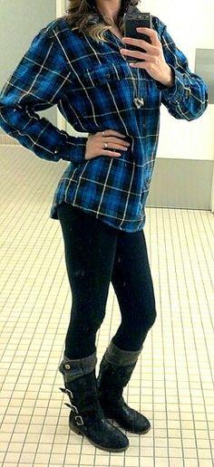Men's flannel shirt, black leggings, leg warmers, boots #fall #winter