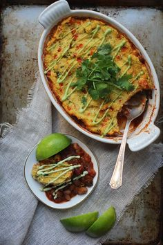 fire roasted slow cooker chili with polenta crust and roasted poblano cashew cream