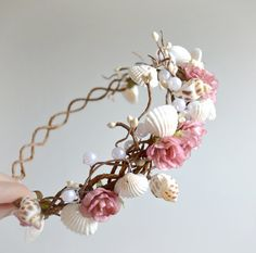 Mermaid crown, bridal head piece, rosebud circlet, wedding accessory - multi use Bridal Headpieces, Bridal Hair, Bridal Crown, Wedding Accessories, Jewelry Accessories, Ring Armband, Corona Floral, Mermaid Crown, Mermaid Headpiece