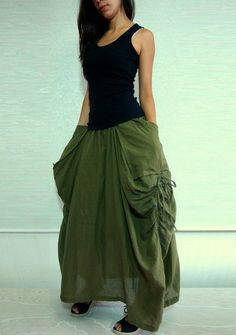 Lagenlook Maxi Skirt Big Pockets Long Skirt  in Army by idea2wear, $46.00