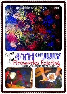 This is supposed to be for kids but I think I might do it tomorrow...why should kids have all the fun? Make a 4th of July Fireworks Painting - using a Fly swatter!